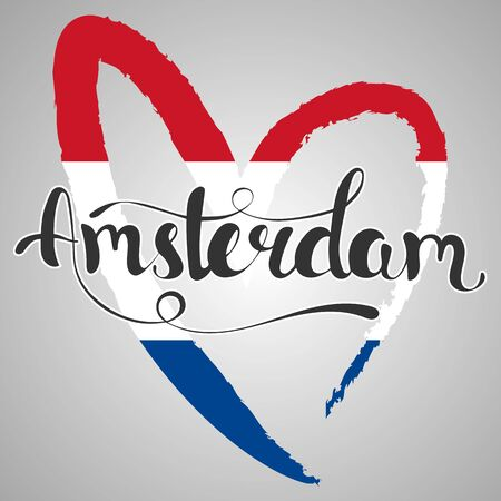 touristic: Amsterdam lettering. Hand written Amsterdam. Modern hand lettering. Vector Illustration. The flag of the Netherlands in the shape of heart. Illustration