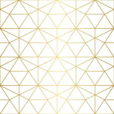 Struttura dorata. Reticolo geometrico senza giunte. Motivo geometrico su uno sfondo bianco.