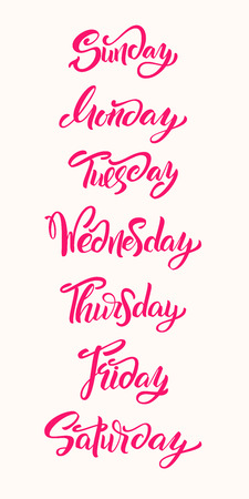 Hand lettering Days of Week. Modern calligraphy. Vector lettering.