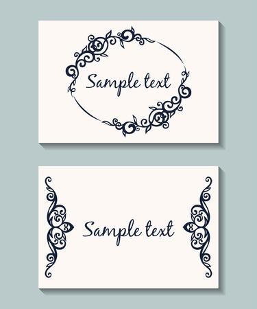 花カードのセットです。ビンテージ パターンとはがき。ビンテージの招待状。結婚式の招待状。  イラスト・ベクター素材