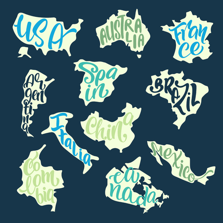 Handwritten lettering with country names inscribed in the silhouettes of maps. USA, Australia, France, Spain, Brazil, Italy, Argentina, Canada, Colombia, Mexico, China. Vector typography poster