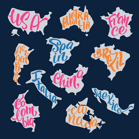 inscribed: Handwritten lettering with country names inscribed in the silhouettes of maps. USA, Australia, France, Spain, Brazil, Italy, Argentina, Canada, Colombia, Mexico, China. Vector typography poster