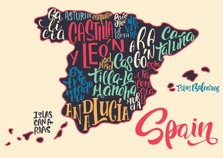 Silhouette of the map of Spain with hand-written names of regions, provinces - Catalonia, Andalusia, Galicia, etc. Handwritten lettering on the background of Spain map. Unique vector typography poster Vektoros illusztráció