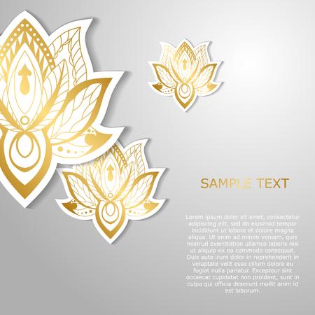 黄金の蓮がモダンなテンプレート デザイン。ポスター、バナー、およびグリーティング カード用があります。ベクトル図 写真素材 - 85103391