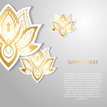 Modern template design with golden lotuses. May be used for poster, banner, and greeting card. Vector illustration Banco de Imagens - 85103391