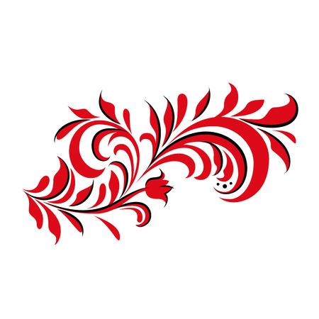 赤と黒の飾り。花ロシアの飾り。花の要素と伝統的なロシアの飾り。ベクトルの図。