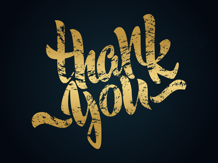 Thank you lettering. Hand written Thank you poster. Modern golden hand lettering. Illustration