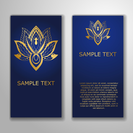 aura energy: Cards template for yoga studio with golden lotuses. Yoga vertical vector banner. Business card template for yoga retreat, can be used for Hinduism religious organization. vector illustration. Illustration