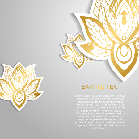 aura energy: Modern template design with golden lotuses. May be used for poster, banner, and greeting card. Vector illustration.
