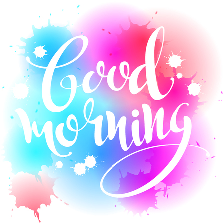 "Caligrafía hecha a mano, ilustración vectorial. Cartel manuscrito de ""Buenos días"". Letras. Texto vectorial caligráfico."