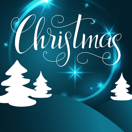 Christmas lettering. Hand written Christmas poster. Modern hand lettering on a turquoise background with Christmas tree. vector illustration