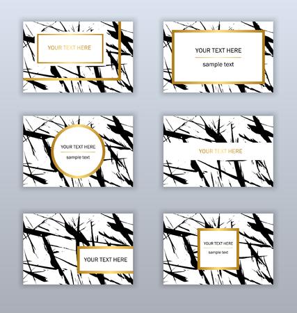 白、黒、金の名刺テンプレートのセット。モダンな抽象デザイン。手描きのインク パターン。ブラシのテクスチャ。
