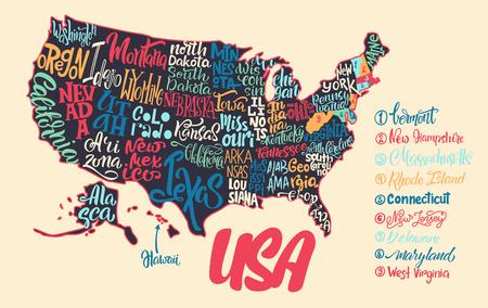 州の手書きの名前を持つ米国の地図のシルエット - テキサス州、カリフォルニア州、アイオワ州、ハワイ、ニューヨーク州などアメリカ地図の背景