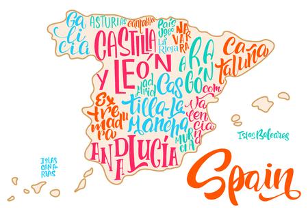 地域、地方の手書きの名前を持つスペインの地図のシルエット - カタルーニャ、アンダルシア、ガリシアなどスペインの地図の背景に手書きの文字  イラスト・ベクター素材