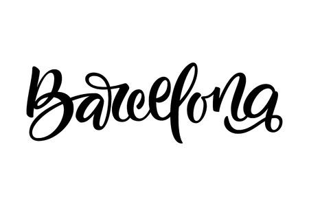手書きの市区町村名。手書き書き書き。バルセロナ。手作りのベクトルレタリング。