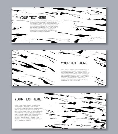 バナー テンプレートのセット。モダンな抽象デザイン。手描きのインク パターン。ブラシのテクスチャ。