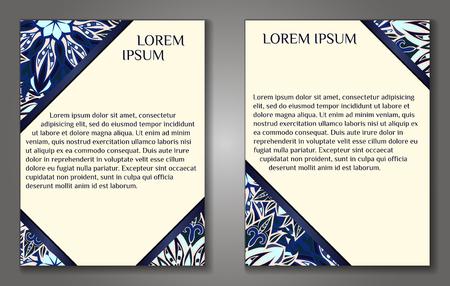 花のマンダラパターンと装飾品を持つベクターヴィンテージカード。丸い花柄のヴィンテージカード。パンフレットの装飾的なオリエンタルテンプ