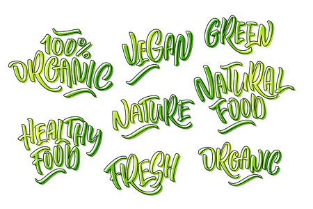 緑色の天然物のレタリングセット。手書きのロゴフレッシュ、オーガニック、ビーガン、緑、自然食品、100%ナチュラル、自然、健康的な食品。ベ
