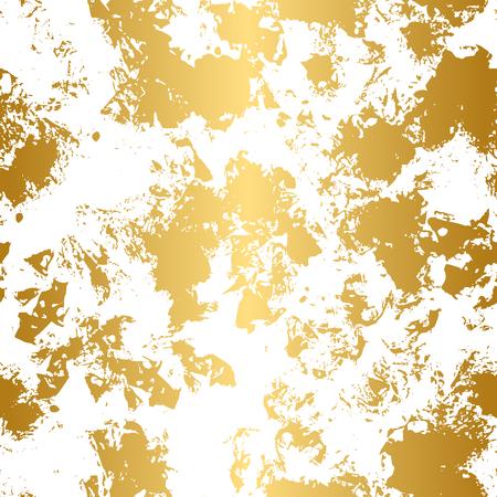 ゴールデンとブラックのシームレスなパターン。現代の抽象的なデザイン。手描きインク パターン。ブラシテクスチャ。  イラスト・ベクター素材