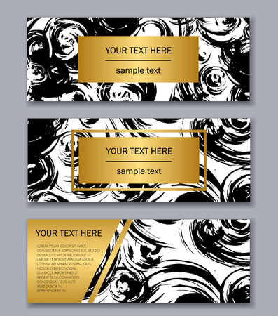Set of white, black and gold banners templates. Modern abstract design. Hand drawn ink pattern. Brush texture.
