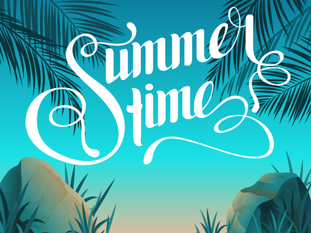 Beautiful landscape with text Summer time. Summer Time Lettering. Bright, colorful background. Summer vacation. Summer illustration with text.