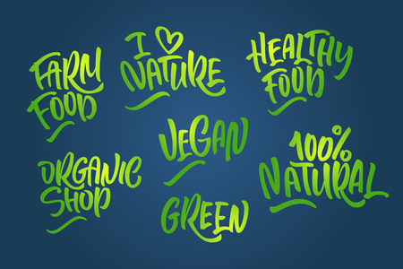Lettering set for natural products in green colors. Handwritten icon I love Nature, organic shop, farm food,100% natural, healthy food, green, Vegan.
