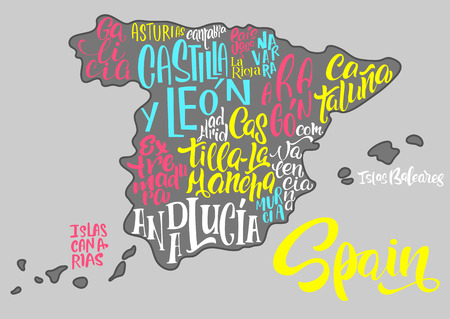 Silhouette of the map of Spain with hand-written names of regions, provinces - Catalonia, Andalusia, Galicia, etc. Handwritten lettering on the background of Spain map.