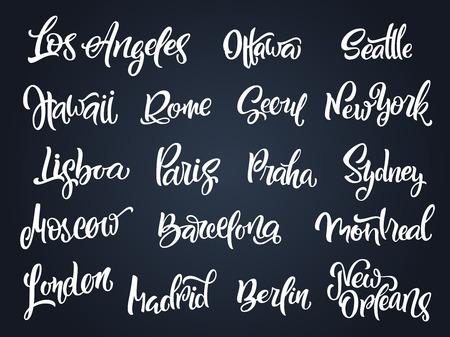 Set of handwritten city names. Hand-lettering calligraphy. London, Paris, Berlin, Madrid, New York, Moscow, Barcelona, Hawaii, Lisboa, Los Angeles, Montreal,New Orleans, Praha, Rome, Seoul, Sydney etc  イラスト・ベクター素材