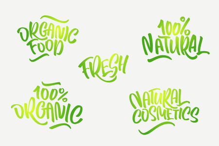 Lettering set for natural products in green colors. Handwritten logo fresh, organic food, 100% natural, natural cosmetics, 100%organic. Vector text