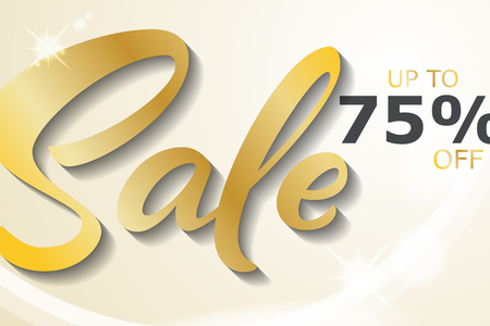 Sale banner template design in gold and white colors. Handwritten Sale illustration.