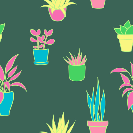 Vector seamless pattern with house plants in pots. Cute cartoon pattern illustration.