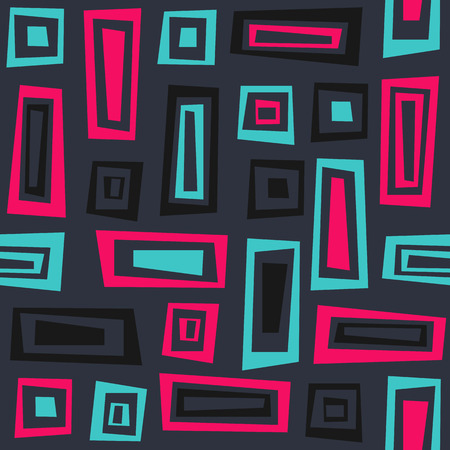Seamless vector geometric pattern with hand-drawn rectangles. Abstract design illustration.  イラスト・ベクター素材