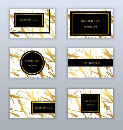 Set of white, black and gold business cards templates. Modern abstract design. Hand drawn ink pattern.
