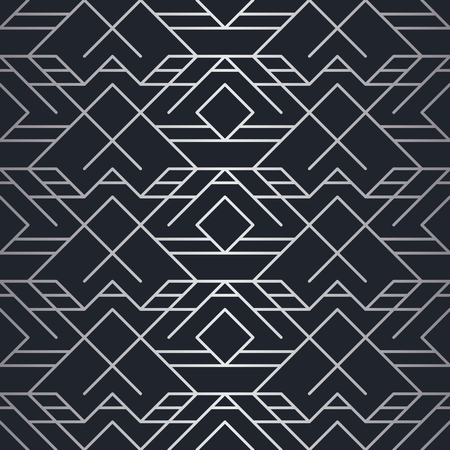 Geometric background with rhombus and nodes in silver lines in black background.  イラスト・ベクター素材