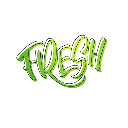 Lettering Fresh in green colors. Handwritten logo fresh. Vector text. Vector illustration