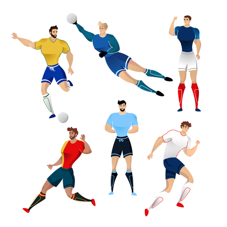 Football players from France, Brazil, England, Germany, Uruguay and Belgium isolated on a white background. Colorful illustration of soccer players. Vector illustration of goalkeeper.