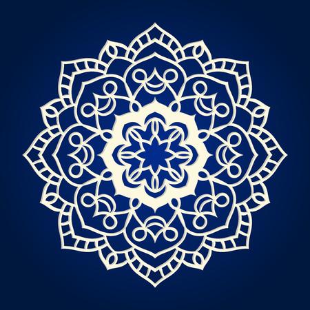 Flower Mandala. Ethnic pattern. Round Mandala of lines. Vector illustration. Linear ornament template  イラスト・ベクター素材