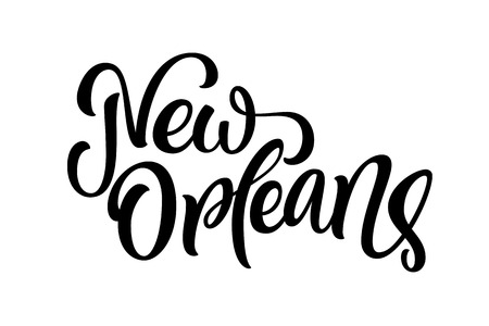 Handwritten city name. Hand-lettering calligraphy. New Orleans. Handmade vector Lettering. Vector illustration