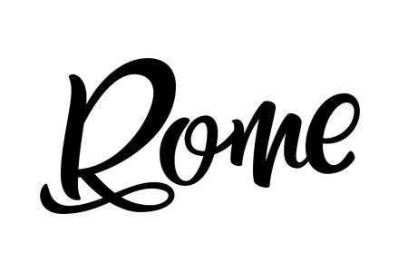 Handwritten city name. Hand-lettering calligraphy. Rome. Handmade vector Lettering. Vector illustration  イラスト・ベクター素材