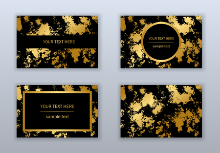 Set of white, black and gold business cards templates. Modern abstract design. Hand drawn ink pattern. Brush texture.  イラスト・ベクター素材