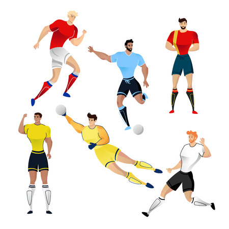 Football players from Uruguay, France, Russia, Germany, Colombia and Belgium isolated on a white background. Colorful  illustration of soccer players. Vector illustration of goalkeeper.