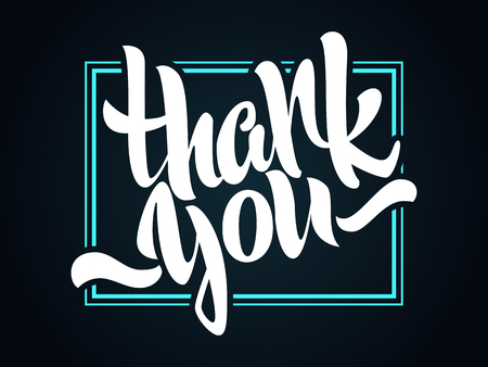 Thank you lettering. Hand written Thank you poster. Modern hand lettering.  Hand drawn vector  calligraphy