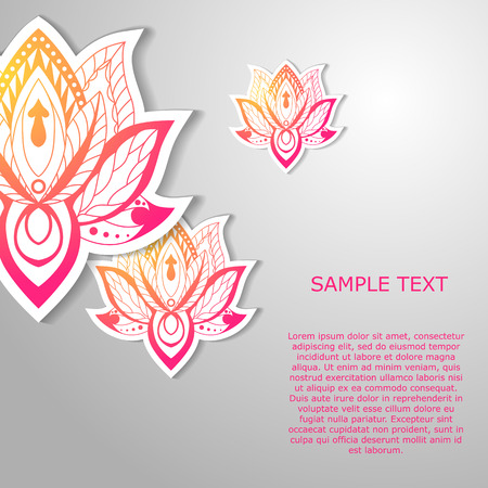 Modern template design with  lotuses. May be used for poster, banner, and greeting card. Vector illustration  イラスト・ベクター素材