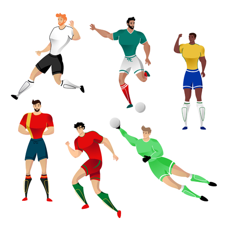 Football players from Germany, Mexico, Brazil, Spain, Portugal and Russia isolated on a white background. Colorful  illustration of soccerl players. Vector illustration of goalkeeper.