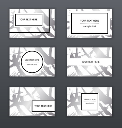 Set of white, black and silver business cards templates. Modern abstract design. Hand drawn ink pattern. Brush texture. vector illustration  イラスト・ベクター素材