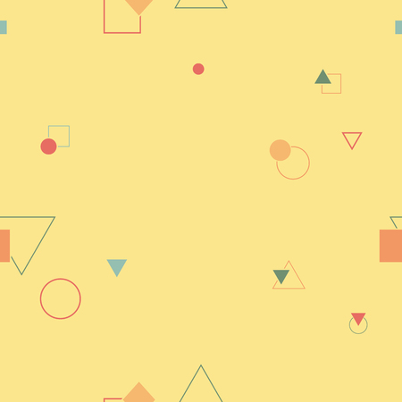Abstract seamless pattern in memphis style. Colorful geometric design. Vector illustration  イラスト・ベクター素材