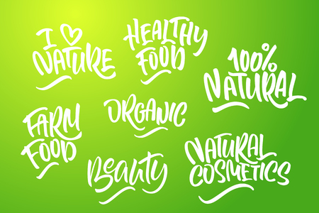 Lettering set for natural products in green colors. Handwritten logo I love Nature, organic, farm food,100% natural, natural cosmetics, healthy food, beauty. Vector text