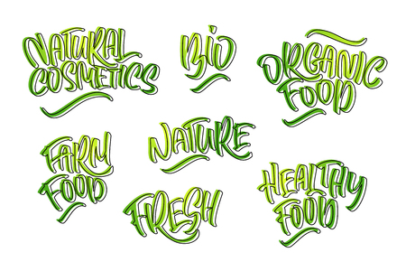 Lettering set for natural products. Handwritten logo fresh, Nature, organic food, natural cosmetics, farm food, Nature, Healthy food. Vector text  イラスト・ベクター素材