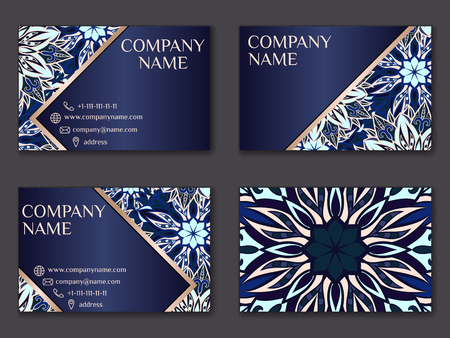Vector vintage business card set. Beauty designs. Floral mandala pattern and ornaments. Front page and back page.