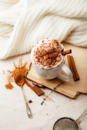 Cup of cocoa with cinnamon, whipped cream and chocolate. Textile background. Scandinavian winter concept. Vertical composition. Stock Photo